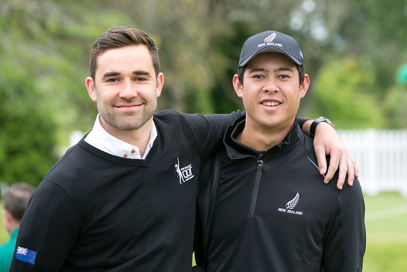 George Harper Jnr and Denzel Ieremia from New Zealand on the final Day of the Asia-Pacific Amateur Championship tournament 2017 held at Royal Wellington Golf Club, in Heretaunga, Upper Hutt, New Zealand from 26 - 29 October 2017. Copyright John Mathews 2017.   www.megasportmedia.co.nz