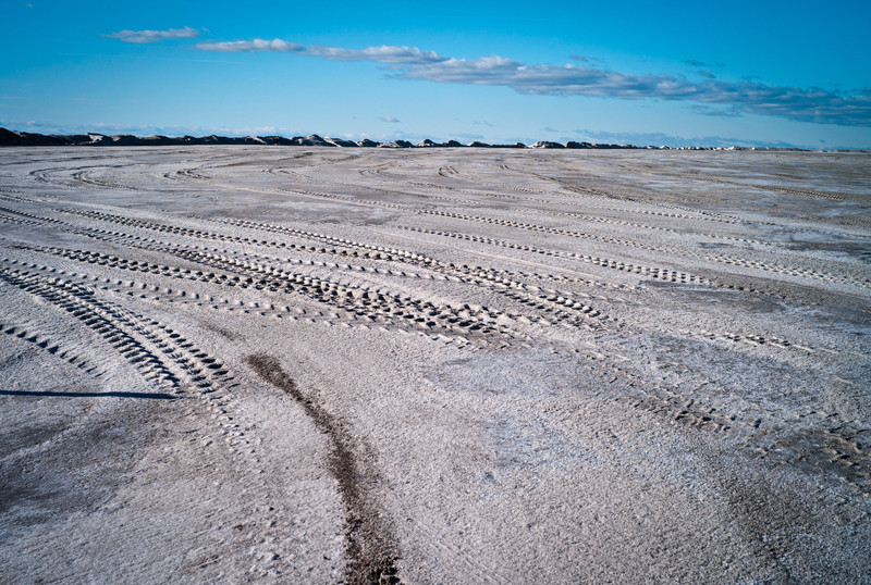 Truck footprint on the salt hills of Salin de Giraud.