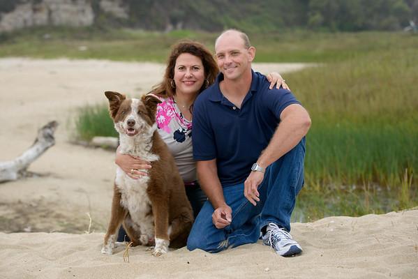 Marianne, Mike and Dog Coda (Family Pet Photography) @ Four Mile Beach, Santa Cruz