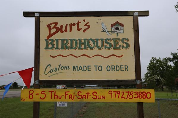 Burt's Birdhouses July 1, 2012 Carmine, Texas