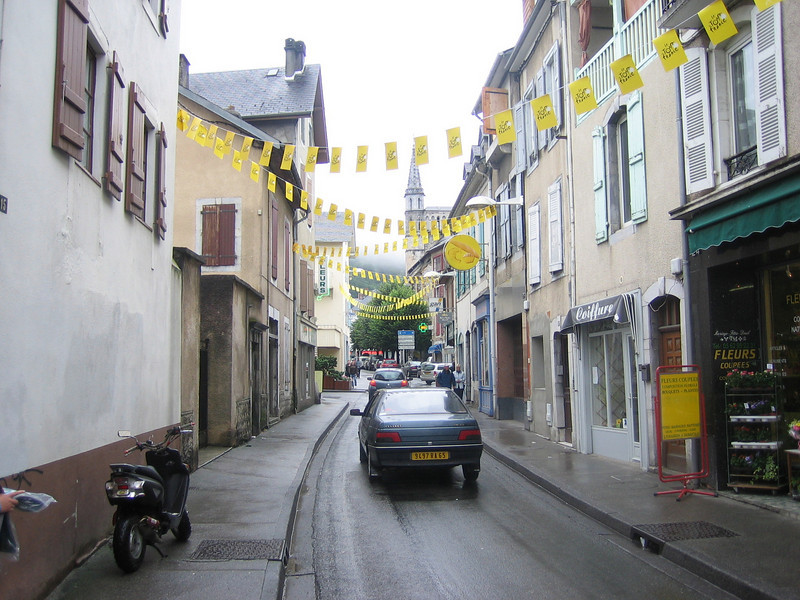 Festive tour city, dampened somewhat by torrential rain. Bagneres de Bigorre, in the Pyrenees.