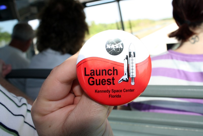 This red and white button allowed access to the Administrator's Guests viewing area at Banana Creek.  Red, white, and blue buttons designated guests of the astronauts, and green and white buttons designated guests of international space agencies.