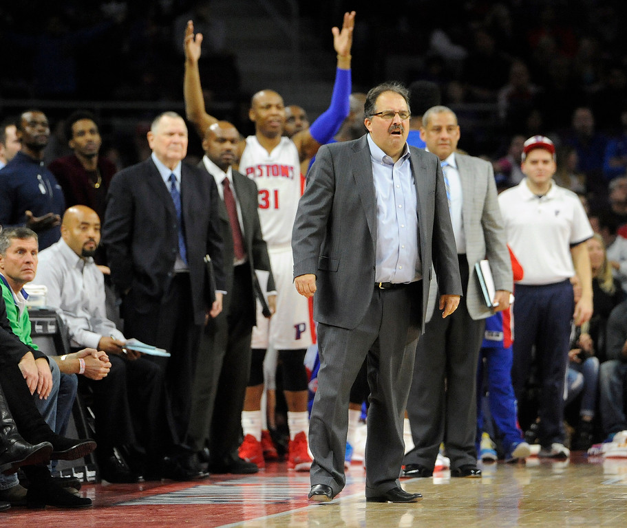 . Detroit Pistons head coach Stan Van Gundy, foreground, is upset with a foul called on his team as they play the New York Knicks in the first overtime, Friday, Feb. 27, 2015 at The Palace in Auburn Hills, Mich.  The Knicks beat the Pistons 121-115.  (Special to The Oakland Press/Jose Juarez)