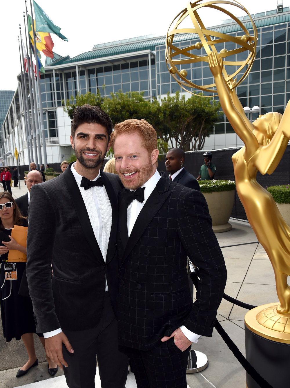 . Justin Mikita (L) and actor Jesse Tyler Ferguson attend the 66th Annual Primetime Emmy Awards held at Nokia Theatre L.A. Live on August 25, 2014 in Los Angeles, California.  (Photo by Michael Buckner/Getty Images)