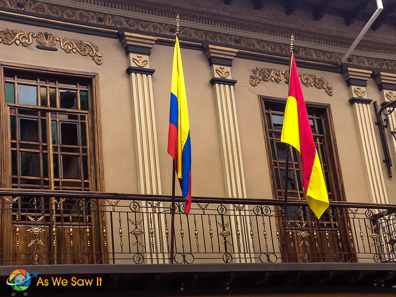 Flags on balconies in Cuenca also attract the eye.