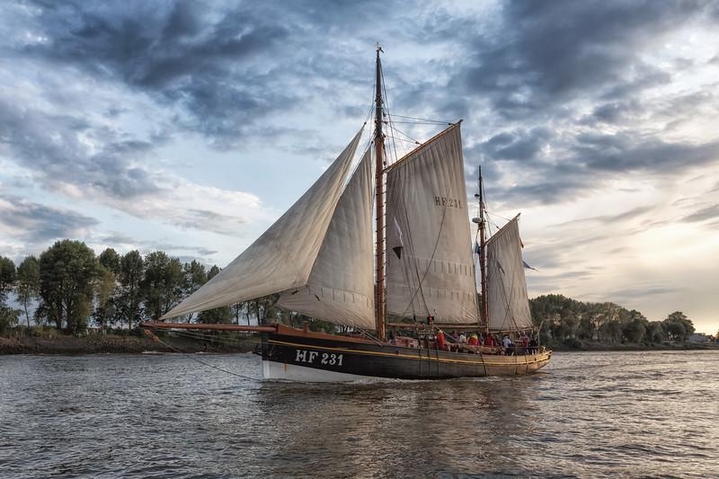 HF231 auf der Elbe in Hamburg Traditionsschiff