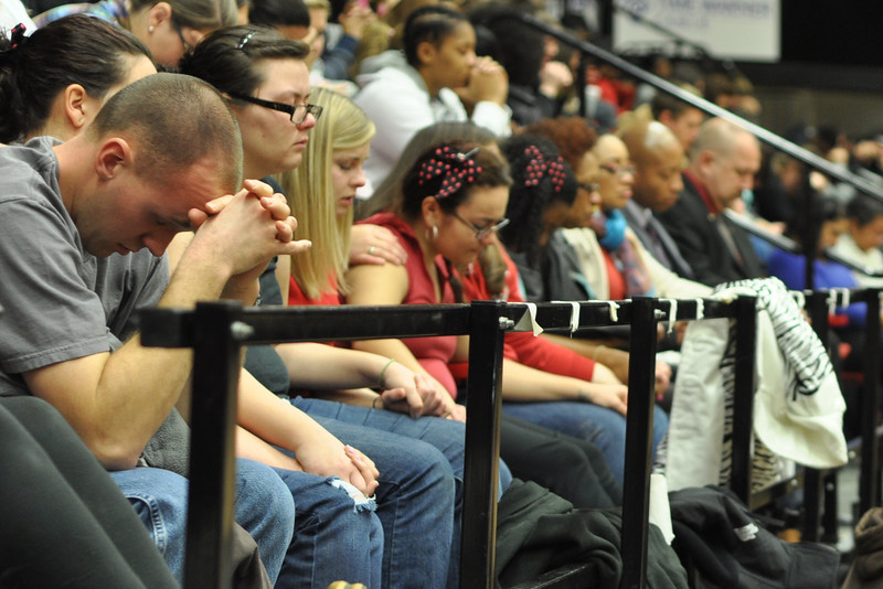 Close friends of Ariane Patterson, praying together in the LYCC at noon January 20, 2012
