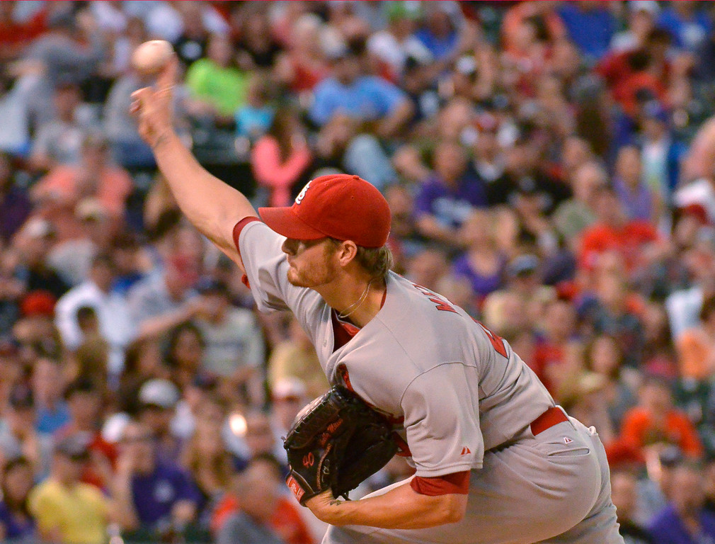 . DENVER, CO - JUNE 24: St. Louis Cardinals starting pitcher Shelby Miller (40) delivers a pitch against the Colorado Rockies June 24, 2014 at Coors Field. (Photo by John Leyba/The Denver Post)