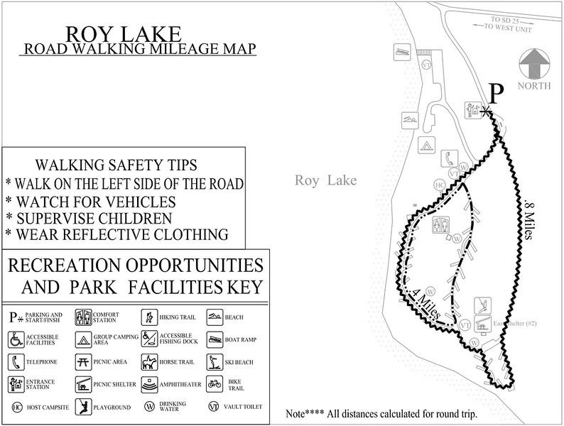 Roy Lake State Park (Road Walking Map)