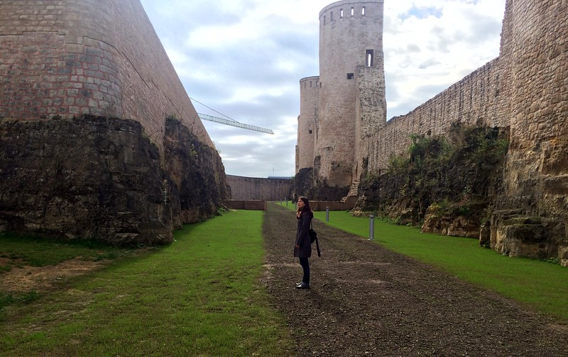 Walking around city walls and fortifications