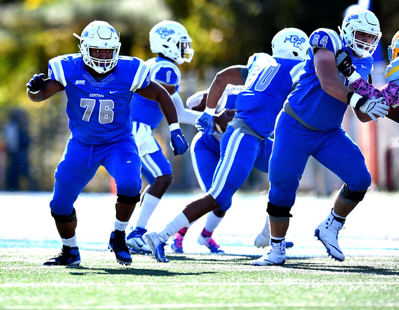 10/26/2019 Mike Orazzi | Staff CCSU's Trevon Lincoln (76) during Saturday's football game with Long Island University in New Britain.