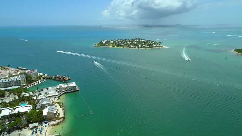 Aerial video Sunset Island Key West Florida