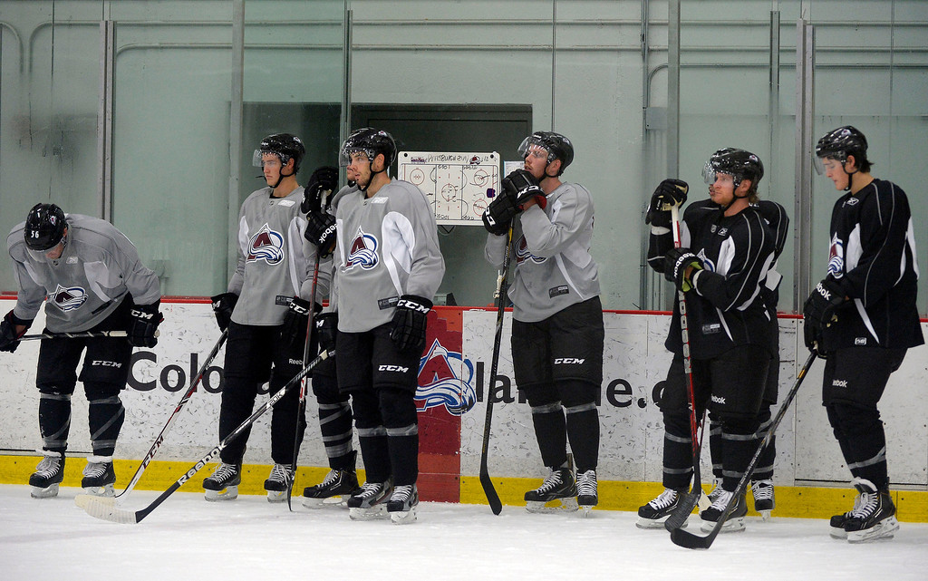 . Members of the Colorado Avalanche line up during day three of rookie camp practice September 10, 2013 at Family Sports. (Photo By John Leyba/The Denver Post)