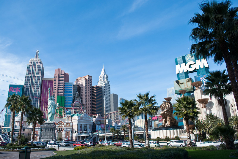 Looking across The Strip to New York, New York.