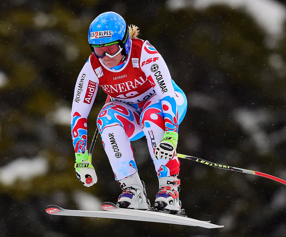. Marion Rolland, of France, races down the course during the women\'s World Cup downhill ski race in Lake Louise, Alberta, Saturday, Dec. 6, 2014. (AP Photo/The Canadian Press, Frank Gunn)
