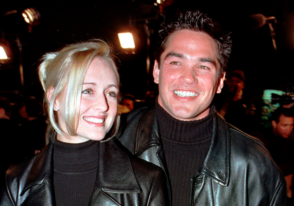 Description of . Actor Dean Cain escorts his girlfriend, country music singer Mindy McCready, to the premiere of the new horror film
