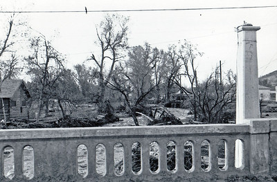 Looking north from the Jackson Street bridge - May 1965 flood - Spearfish, SD.  The bridge had to be replaced, a process that took nearly one year.