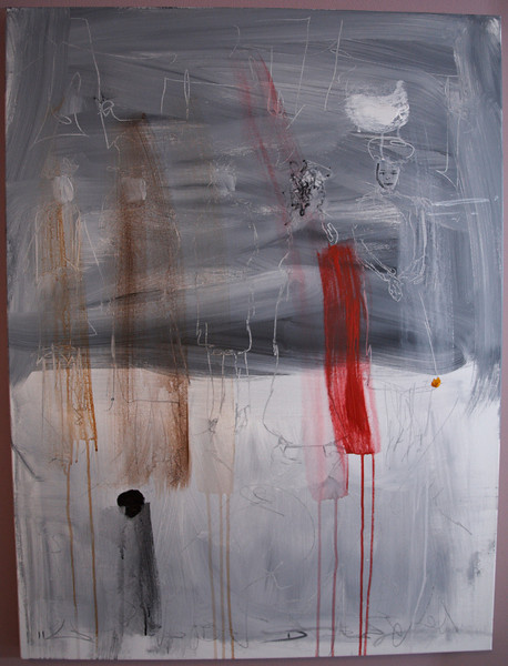"""2011, 30"""" x 40"""". A Change of Mood, Acrylic, pencil and charcoal on canvas."""