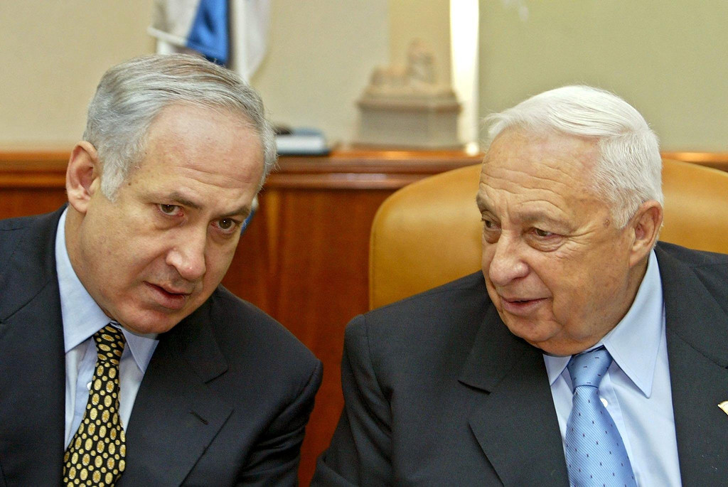 . File picture dated 12 January 2003 of Israeli Prime Minister Ariel Sharon (R) speaks with Foreign Minister Benjamin Netanyahu at the start of the weekly cabinet meeting in Jersualem, Israel. EPA/GIL COHEN MAGEN POOL