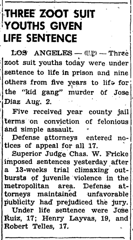 . During the summer of 1943, while the heat hit the streets in the form of fights and riots between the sailors and latino youth, newspapers headlines only fueled the fires of racism and fear. (Article originally published in the Corona Daily Independent on Feb. 2, 1943)