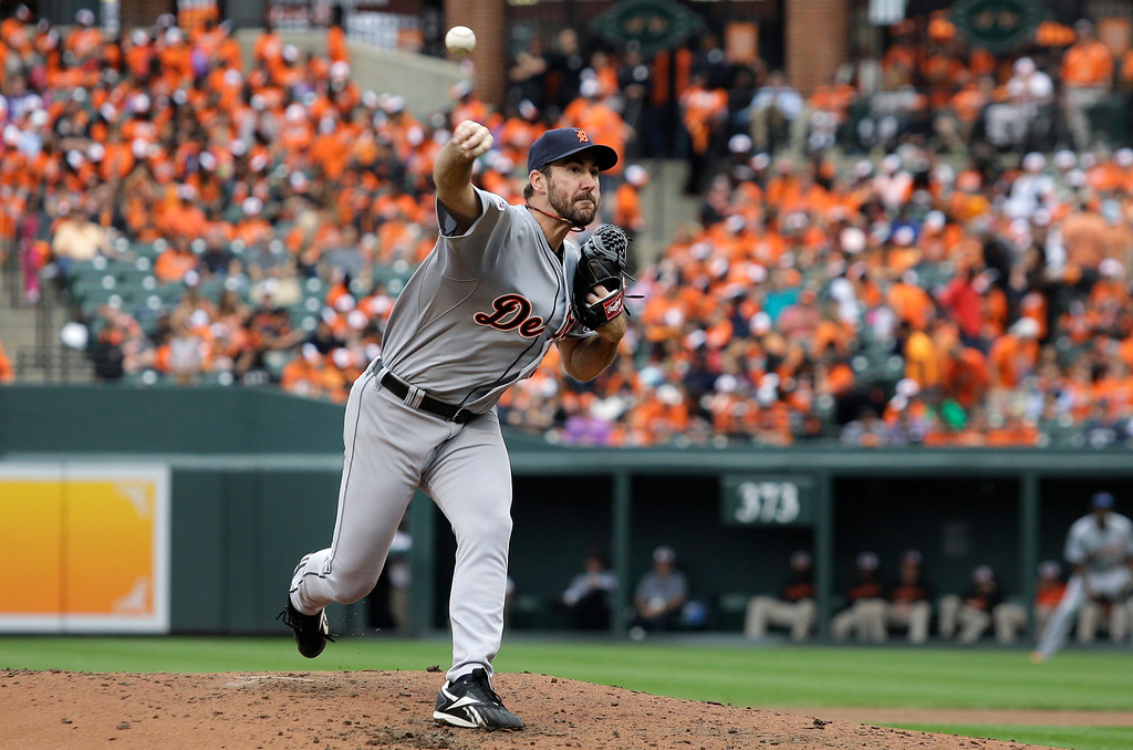 . Detroit Tigers starting pitcher Justin Verlander throws to the Baltimore Orioles in the sixth inning of Game 2 in baseball\'s AL Division Series in Baltimore, Friday, Oct. 3, 2014. (AP Photo/Patrick Semansky)