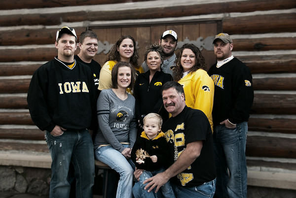 Alsesha scheduled this October family portrait session for her family of Iowa Hawk Eye Football fans. We like the color tweak highlighting the black and gold! October 2011, Ft Defiance State Park near Estherville, Iowa.