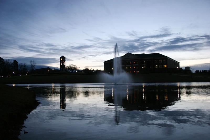 Lake Hollifield at sunrise on the campus of Gardner-Webb University.