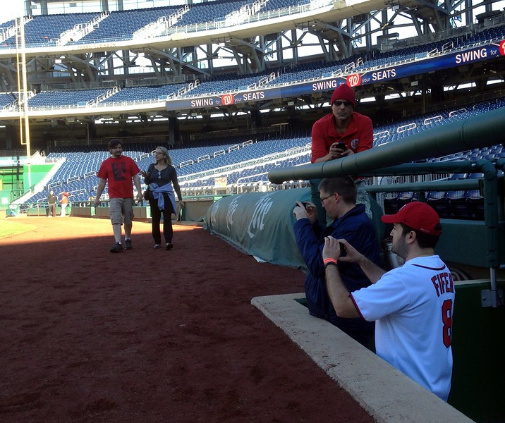 Craig and Joseph in the Nationals dugout (photo by Jenni Simmons)