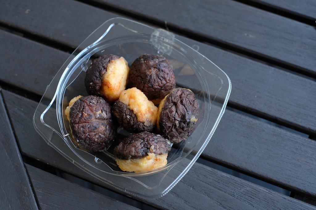 Prawn-stuffed shiitake mushrooms, Mitsukoshi Ginza.