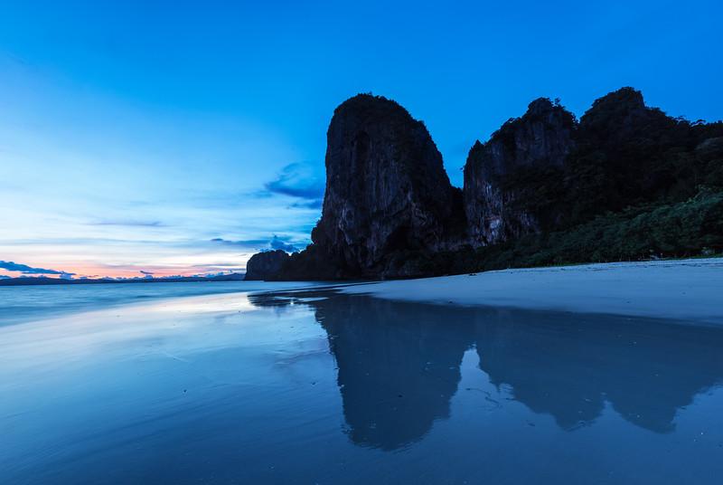 Sunset on Pranang beach. Railay , Krabi Province Thailand