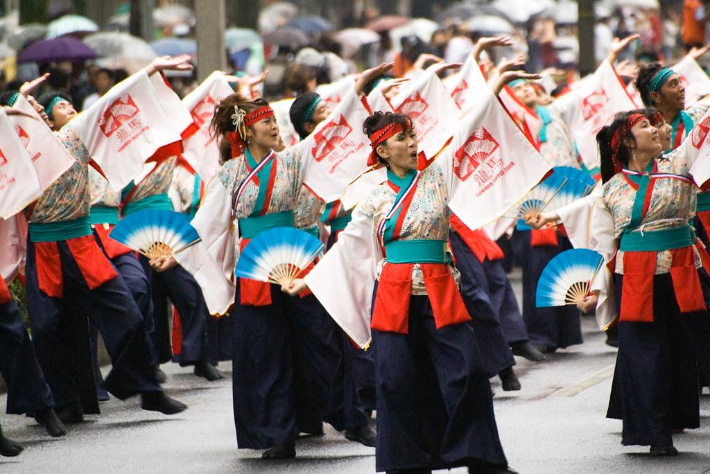 Yosakoi dancers at the Super Yosakoi event.
