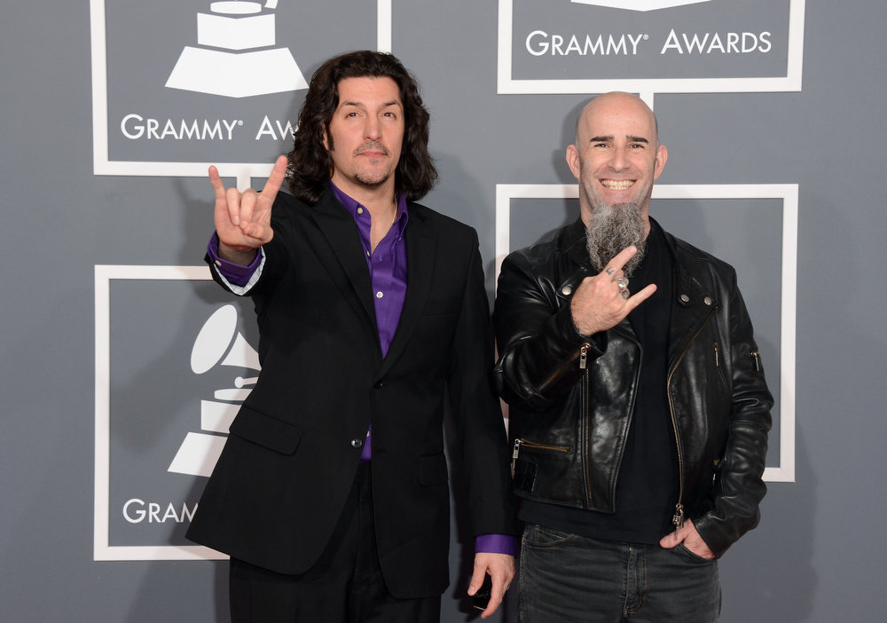 . Musicians Frank Bello (L) and Scott Ian of Anthrax arrive at the 55th Annual GRAMMY Awards at Staples Center on February 10, 2013 in Los Angeles, California.  (Photo by Jason Merritt/Getty Images)