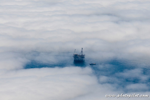 Oil Derricks in the Fog
