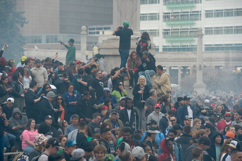 . A crowd gathered at Civic Center Park during the 420 celebration in Denver, April 20, 2016. (Photo by Andy Cross/The Denver Post)