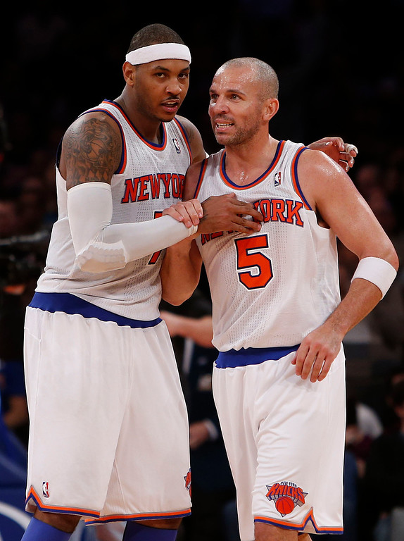 . New York Knicks\' Carmelo Anthony, left, confers with teammate Jason Kidd in the fourth quarter against the Denver Nuggets during an NBA basketball game, Sunday, Dec. 9, 2012, in New York.  New York beat Denver, 112-106. (AP Photo/Jason DeCrow)