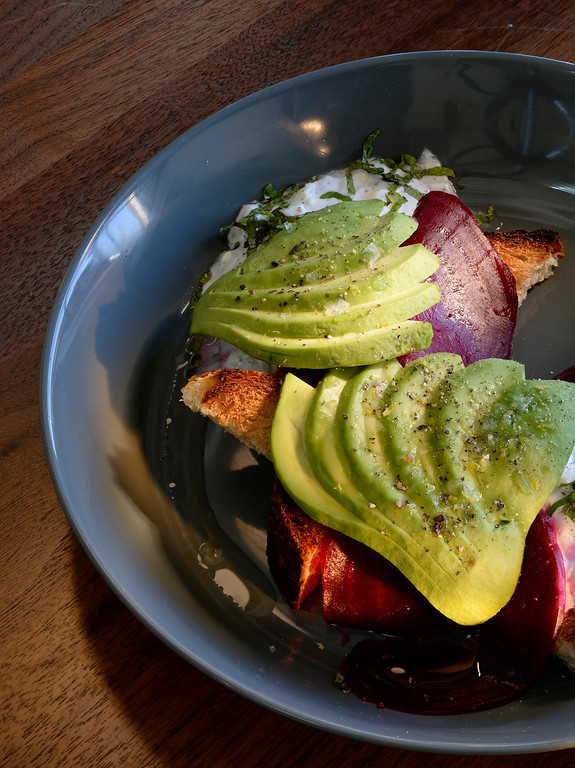 . The avocado with feta toast with Bulgarian feta tzaziki, pickled beetroot and citrus salt at Stowaway, a  new location for coffee and dining, which has come to Denver\'s RiNo neighborhood. Stowaway was  photographed on Thursday, March 10, 2016.  (Photo by Cyrus McCrimmon/ The Denver Post)