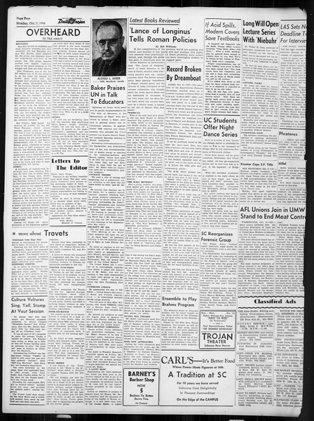Daily Trojan, Vol. 38, No. 16, October 07, 1946