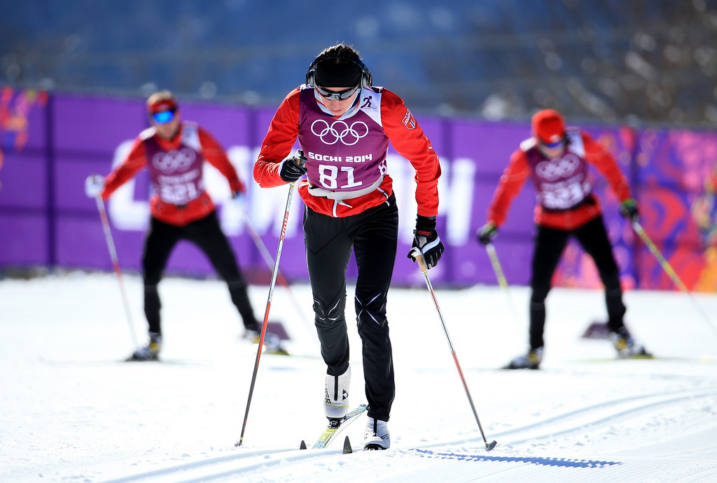 . Cross-country skiers practice ahead of the Sochi 2014 Winter Olympics at the Laura Cross-Country Ski and Biathlon Center on February 4, 2014 in Sochi, Russia.  (Photo by Richard Heathcote/Getty Images)