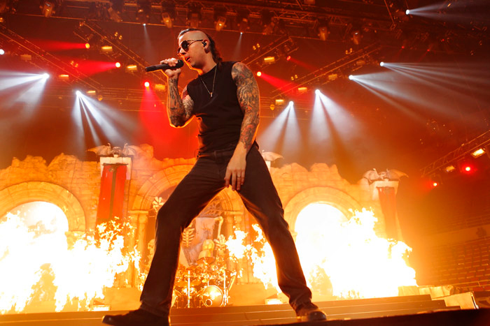 . M. Shadows of Avenged Sevenfold at Joe Louis Arena. Photo by Ken Settle