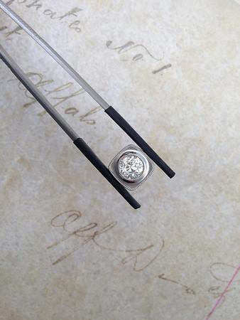 0.96ct Old European Cut Diamond in Platinum Bezel, EGL H, VS1