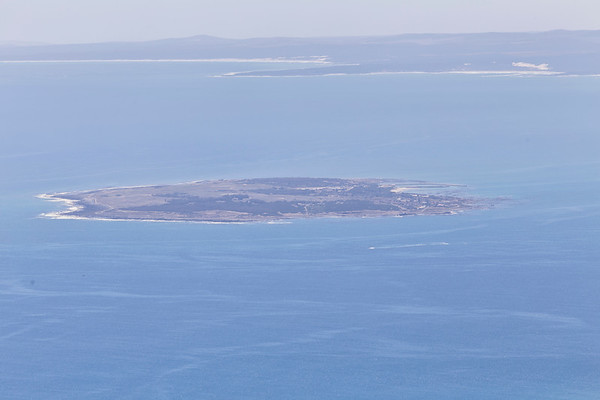 view of Robben Island from Table Mountain, Cape Town