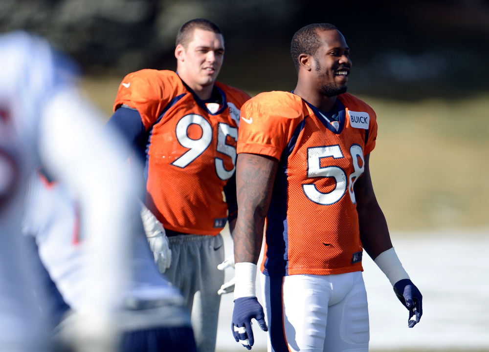 . Denver Broncos outside linebacker Von Miller (58) smiles during practice Wednesday, December 12,  2012 at Dove Valley.  John Leyba, The Denver Post