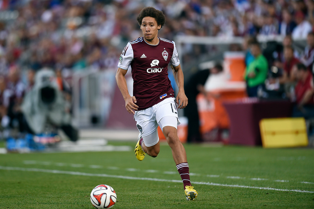 . Chris Klute #15 of the Colorado Rapids dribbles the ball up the field during an MLS game against the Columbus Crew at Dick\'s Sporting Goods Park on July 4, 2014, in Commerce City, Colorado. (Photo by Daniel Petty/The Denver Post)