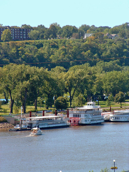 Paddleboats docked along the Mississippi River across from downtown St. Paul. The Capitol Steamer was my favorite.