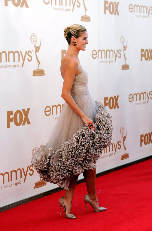 . TV personality Heidi Klum arrives at the 63rd Annual Primetime Emmy Awards held at Nokia Theatre L.A. LIVE on September 18, 2011 in Los Angeles, California.  (Photo by Frazer Harrison/Getty Images)