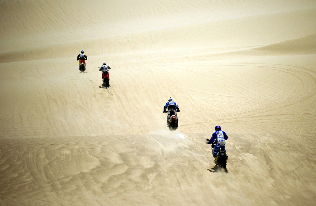 . Riders compete during the Stage 1 of the Dakar 2013 between Lima and Pisco, Peru, on January 5, 2013. The rally will take place in Peru, Argentina and Chile from January 5 to 20.  FRANCK FIFE/AFP/Getty Images