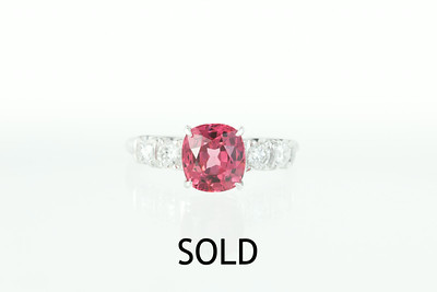 2.19ct Spinel, Platinum and Old European Cut Diamond Ring