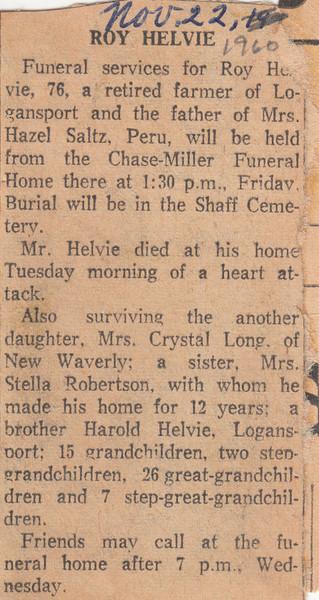 Newspaper Clipping - Obituary - Roy Helvie - November 22, 1960.jpg