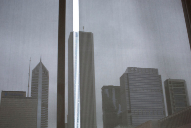 A view of some buildings through a window at the Art Institute of Chicago in Chicago, Illinois on April 16, 2011.  (Jay Grabiec)