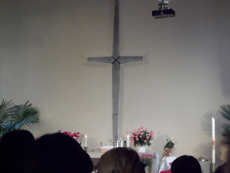 Cross at church on Easter Sunday